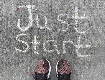 Just Start written in chalk